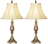 Traditional Set of Two Gilded Gold Classic Table Lamps