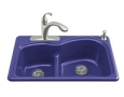 Kohler - K-5839-2-30 - Woodfield Self-Rimming Smart Divide Cast Iron Kitchen Sink