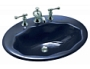 "Kohler - K-2908-4-52 - LARKSPUR 24"" X 18"" SELF RIMMING CAST IRON SCALLOPED OVAL LAVATORY WITH 4"" CENTERS"